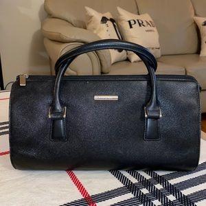 Burberry black leather Boston bag